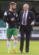 12 August 2017; Cork manager John Caulfield in conversation with Greg Bolger ahead of the Irish Daily Mail FAI Cup first round match between Bray Wanderers and Cork City at the Carlisle Grounds in Bray, Co. Wicklow. Photo by Ramsey Cardy/Sportsfile
