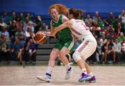 12 August 2017; Sorcha Tiernan of Ireland in action against Alicja Grabska of Poland during the FIBA U18 Women's European Basketball Championships match between Ireland and Poland at National Basketball Arena in Tallaght, Dublin. Photo by David Fitzgerald/Sportsfile