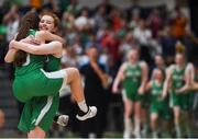 12 August 2017; Maeve Phelan of Ireland jumps on her team mate Claire Melia to celebrate at the final whistle following their side's victory the FIBA U18 Women's European Basketball Championships match between Ireland and Poland at National Basketball Arena in Tallaght, Dublin. Photo by David Fitzgerald/Sportsfile