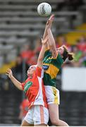 12 August 2017; Eilish Lynch of Kerry in action against Lauren McConville of Armagh during the TG4 Ladies Football All-Ireland Senior Championship Quarter-Final match between Kerry and Armagh at Nowlan Park in Kilkenny. Photo by Matt Browne/Sportsfile