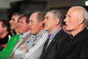 1 May 2012; Tyrone manager Mickey Harte, second from right, alongside, from left to right, Donegal managerJim McGuinness, Cavan manager Terry Hyland, Monaghan manager Eamon McEneaney and Antrim manager Liam Bradley at the Ulster GAA Senior Football Championship & Ulster Ladies Football launch 2012. Titanic Suite, Titanic Signature Building, Belfast, Co. Antrim. Picture credit: Oliver McVeigh / SPORTSFILE