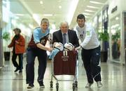 2 May 2012; Drogheda United manager Mick Cooke with players Derek Prendergast, left, and Gavin Brennan, right, at the announcement of Scotch Hall Shopping Centre, Drogheda, as Drogheda United's main jersey sponsor. Scotch Hall Shopping Centre, Drogheda, Co. Louth. Picture credit: Paul Mohan / SPORTSFILE