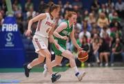 12 August 2017; Sorcha Tiernan of Ireland in action against Karolina Matkowska of Poland during the FIBA U18 Women's European Basketball Championships match between Ireland and Poland at National Basketball Arena in Tallaght, Dublin. Photo by David Fitzgerald/Sportsfile
