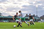 12 August 2017; Kieran Sadlier of Cork City is tackled by John Sullivan of Bray Wanderers during the Irish Daily Mail FAI Cup first round match between Bray Wanderers and Cork City at the Carlisle Grounds in Bray, Co. Wicklow. Photo by Ramsey Cardy/Sportsfile