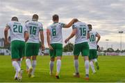 12 August 2017; Cork City's Kieran Sadlier, 15, is congratulated by teammates after scoring his side's first goal during the Irish Daily Mail FAI Cup first round match between Bray Wanderers and Cork City at the Carlisle Grounds in Bray, Co. Wicklow. Photo by Ramsey Cardy/Sportsfile