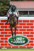 12 August 2017; Co-winner Daniel Coyle of Ireland clearing the highest obstacle on Cavalier Rusticana in the Land Rover Puissance during the Dublin International Horse Show at RDS, Ballsbridge in Dublin. Photo by Cody Glenn/Sportsfile