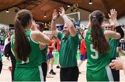 12 August 2017; Ireland coach Tommy O'Mahony high fives his players following their victory after the FIBA U18 Women's European Basketball Championships match between Ireland and Poland at National Basketball Arena in Tallaght, Dublin. Photo by David Fitzgerald/Sportsfile