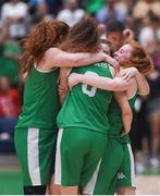 12 August 2017; Ireland players celebrate after the FIBA U18 Women's European Basketball Championships match between Ireland and Poland at National Basketball Arena in Tallaght, Dublin. Photo by David Fitzgerald/Sportsfile