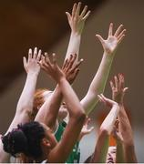 12 August 2017; Claire Melia of Ireland, centre, raises her hands highest as player await the ball to drop during the FIBA U18 Women's European Basketball Championships match between Ireland and Poland at National Basketball Arena in Tallaght, Dublin. Photo by David Fitzgerald/Sportsfile