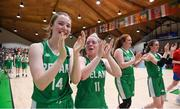 12 August 2017; Maeve O'Seahdha of Ireland, left, and team mate Louise Scannell salute the fans following their victory after the FIBA U18 Women's European Basketball Championships match between Ireland and Poland at National Basketball Arena in Tallaght, Dublin. Photo by David Fitzgerald/Sportsfile