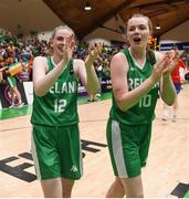 12 August 2017; Bronagh Power Cassidy, left, and team mate Ella McCloskey salute the fans following their side's victory in the FIBA U18 Women's European Basketball Championships match between Ireland and Poland at National Basketball Arena in Tallaght, Dublin. Photo by David Fitzgerald/Sportsfile