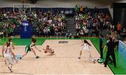 12 August 2017; Claire Melia of Ireland in action against Barbara Zieniewska of Poland during the FIBA U18 Women's European Basketball Championships match between Ireland and Poland at National Basketball Arena in Tallaght, Dublin. Photo by David Fitzgerald/Sportsfile
