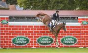 12 August 2017; Eventual co-winner Christopher Megahey of Ireland clearing the obstacle on Seapatrick Cruise Cavalier in the Land Rover Puissance during the Dublin International Horse Show at RDS, Ballsbridge in Dublin. Photo by Cody Glenn/Sportsfile