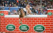 12 August 2017; Eventual co-winner Christopher Megahey of Ireland clears the obstacle on Seapatrick Cruise Cavalier in the Land Rover Puissance during the Dublin International Horse Show at RDS, Ballsbridge in Dublin. Photo by Cody Glenn/Sportsfile
