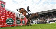 12 August 2017; Harriett Nuttall of Great Britain fails to clear the obstacle on Duff ìn the Land Rover Puissance during the Dublin International Horse Show at RDS, Ballsbridge in Dublin. Photo by Cody Glenn/Sportsfile