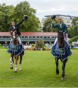 12 August 2017; Co-winners Daniel Coyle of Ireland, right, on Cavalier Rusticana and Christopher Megahey of Ireland on Seapatrick Cruise Cavalier celebrate with a lap of honour after the Land Rover Puissance during the Dublin International Horse Show at RDS, Ballsbridge in Dublin. Photo by Cody Glenn/Sportsfile