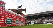 12 August 2017; Eventual co-winner Christpher Megahey of Ireland clearing the obstacle on Seapatrick Cruise Cavalier in the Land Rover Puissance during the Dublin International Horse Show at RDS, Ballsbridge in Dublin. Photo by Cody Glenn/Sportsfile