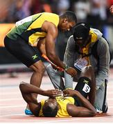 12 August 2017; Usain Bolt of Jamaica following the final of the Men's 4x100m Relay event during day nine of the 16th IAAF World Athletics Championships at the London Stadium in London, England. Photo by Stephen McCarthy/Sportsfile