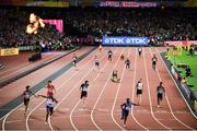 12 August 2017; Usain Bolt, running the anchor leg for his Jamaica team, falls on the track as Great Britain win the Men's 4x100m Relay event during day nine of the 16th IAAF World Athletics Championships at the London Stadium in London, England. Photo by Stephen McCarthy/Sportsfile