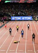 12 August 2017; Usain Bolt, running the anchor leg for his Jamaica team, lies on the track after picking up an injury during the Men's 4x100m Relay event during day nine of the 16th IAAF World Athletics Championships at the London Stadium in London, England. Photo by Stephen McCarthy/Sportsfile