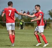 13 August 2017; Christy Fagan, right, of St Patrick's Athletic celebrates after scoring his side's first goal with teammate Conan Byrne during the Irish Daily Mail FAI Cup first round match between Portmarnock FC and St Patrick's Athletic at Paddy's Hill in Portmarnock, Dublin. Photo by David Maher/Sportsfile