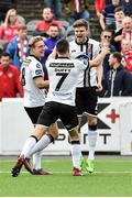 13 August 2017; John Mountney, left of Dundalk celebrates after scoring his side's first goal with teammates Sean Gannon and Michael Duffy during the Irish Daily Mail FAI Cup first round match between Dundalk v Derry City at Oriel Park in Dundalk, Louth. Photo by David Maher/Sportsfile