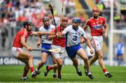 13 August 2017; Michael Walsh of Waterford in action against Cork players, from left, Christopher Joyce, Stephen McDonnell and Bill Cooper during the GAA Hurling All-Ireland Senior Championship Semi-Final match between Cork and Waterford at Croke Park in Dublin.  Photo by Brendan Moran/Sportsfile