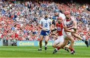 13 August 2017; Waterford's Austin Gleeson, centre, looks on after scoring his side's third goal, with team-mate Michael Walsh, and Cork's Anthony Nash, goalkeeper, and Bill Cooper during the GAA Hurling All-Ireland Senior Championship Semi-Final match between Cork and Waterford at Croke Park in Dublin.  Photo by Piaras Ó Mídheach/Sportsfile