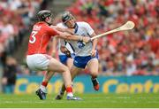 13 August 2017; Damien Cahalane of Cork fouls Conor Gleeson of Waterford, for which he was sent off for a second yellow card offence by referee James Owens, during the GAA Hurling All-Ireland Senior Championship Semi-Final match between Cork and Waterford at Croke Park in Dublin.  Photo by Piaras Ó Mídheach/Sportsfile