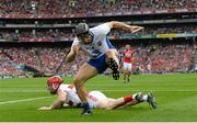 13 August 2017; Jamie Barron of Waterford after scoring his side's second goal as Cork goalkeeper Anthony Nash looks on during the GAA Hurling All-Ireland Senior Championship Semi-Final match between Cork and Waterford at Croke Park in Dublin.  Photo by Piaras Ó Mídheach/Sportsfile