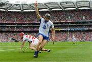 13 August 2017; Jamie Barron of Waterford celebrates scoring his side's second goal as Cork goalkeeper Anthony Nash looks on during the GAA Hurling All-Ireland Senior Championship Semi-Final match between Cork and Waterford at Croke Park in Dublin.  Photo by Piaras Ó Mídheach/Sportsfile