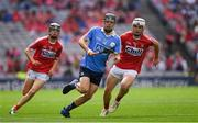 13 August 2017; Seán Currie of Dublin in action against Sean O'Leary Hayes of Cork during the Electric Ireland GAA Hurling All-Ireland Minor Championship Semi-Final match between Dublin and Cork at Croke Park in Dublin. Photo by Ray McManus/Sportsfile