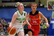 13 August 2017; Louise Scannell of Ireland in action against Jenny Strozyk of Germany during the FIBA U18 Women's European Basketball Championships Final between Ireland and Germany at the National Basketball Arena in Tallaght, Dublin. Photo by Brendan Moran/Sportsfile