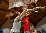 13 August 2017; Claire Melia of Ireland is blocked by Luisa Geiselsoder of Germany during the FIBA U18 Women's European Basketball Championships Final between Ireland and Germany at the National Basketball Arena in Tallaght, Dublin.  Photo by Brendan Moran/Sportsfile