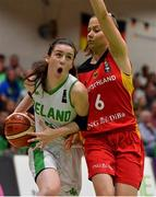 13 August 2017; Dayna Finn of Ireland in action against Laura Schinkel of Germany during the FIBA U18 Women's European Basketball Championships Final between Ireland and Germany at the National Basketball Arena in Tallaght, Dublin.  Photo by Brendan Moran/Sportsfile