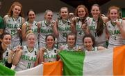 13 August 2017; The Ireland team with their silver medals after the FIBA U18 Women's European Basketball Championships Final between Ireland and Germany at the National Basketball Arena in Tallaght, Dublin.  Photo by Brendan Moran/Sportsfile