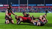 3 November 2017; Simon Zebo of Munster scores the second try despite the efforts of Ashton Hewitt, Will Talbot-Davies and Charlie Davies of Dragons during the Guinness PRO14 Round 8 match between Munster and Dragons at Irish Independent Park in Cork. Photo by Matt Browne/Sportsfile