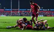 3 November 2017; Simon Zebo of Munster celebrates after scoring his side's second try against the Dragons during the Guinness PRO14 Round 8 match between Munster and Dragons at Irish Independent Park in Cork. Photo by Matt Browne/Sportsfile