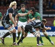 5 May 2012; John Muldoon, Connacht, is tackled by Graeme Morrison, right, and Richie Gray, Glasgow Warriors. Celtic League, Glasgow Warriors v Connacht, Firhill Arena, Glasgow, Scotland. Picture credit: Alan Harvey / SPORTSFILE