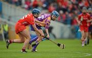 6 May 2012; Fiona Rochford, Wexford, in action against Eimear O'Sullivan, Cork. National Camogie League, Division 1 Final, Cork v Wexford, Semple Stadium, Thurles, Co. Tipperary. Picture credit: Stephen McCarthy / SPORTSFILE