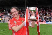 6 May 2012; Cork captain Julia White celebrates with the cup. National Camogie League, Division 1 Final, Cork v Wexford, Semple Stadium, Thurles, Co. Tipperary. Picture credit: Matt Browne / SPORTSFILE