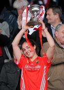 6 May 2012; Cork captain Julia White lifts the cup. National Camogie League, Division 1 Final, Cork v Wexford, Semple Stadium, Thurles, Co. Tipperary. Picture credit: Matt Browne / SPORTSFILE
