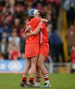6 May 2012; Jennifer O'Leary, left, and Regina Curtin, Cork, celebrate their side's victory. National Camogie League, Division 1 Final, Cork v Wexford, Semple Stadium, Thurles, Co. Tipperary. Picture credit: Stephen McCarthy / SPORTSFILE