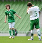 7 May 2012; Ross Nally, DDSL, celebrates after scoring his side's first goal as Mark O'Brien, NDSL/DDSL, shows his dejection. John Giles Foundation Dublin Walk of Dream match, DDSL, green, v NDSL/SDFL, white, Aviva Stadium, Lansdowne Road, Dublin. Picture credit: Stephen McCarthy / SPORTSFILE