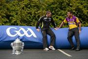 8 May 2012; In attendance at the launch of the Leinster GAA Hurling and Football Championships 2012 are Antrim hurler D.D. Quinn, left, and Wexford hurler Keith Rossiter. Croke Park, Dublin. Picture credit: Brendan Moran / SPORTSFILE