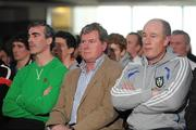 1 May 2012; Jim McGuinness, Donegal Manager, Terry Hyland, Cavan Manager, and Eamon McEneaney, Monaghan Manager, in attendance at the Ulster GAA Senior Football Championship & Ulster Ladies Football launch 2012. Titanic Suite, Titanic Signature Building, Belfast, Co. Antrim. Picture credit: Oliver McVeigh / SPORTSFILE