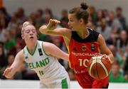 13 August 2017; Jenny Strozyk of Germany in action against Louise Scannell of Ireland during the FIBA U18 Women's European Basketball Championships Final between Ireland and Germany at the National Basketball Arena in Tallaght, Dublin.  Photo by Brendan Moran/Sportsfile