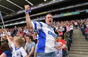 13 August 2017; Waterford supporter Matt Lynch, from Dungarvan, celebrates after a late score during the GAA Hurling All-Ireland Senior Championship Semi-Final match between Cork and Waterford at Croke Park in Dublin.  Photo by Ray McManus/Sportsfile