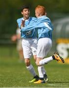 13 August 2017; Jack Nevin of Roscommon Cubs celebrates with team mate Yazan Rahmani after scoring a goal for his side during the Volkswagen Junior Masters event - Day 2 in the AUL Complex Dublin. Now in its fourth year, the tournament has grown into one of the most prestigious under age soccer tournaments in Ireland with the wining club receiving €2,500 from Volkswagen. Photo by Eóin Noonan/Sportsfile