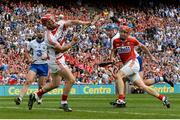 13 August 2017; Waterford's Austin Gleeson, centre, shoots to score his side's third goal as team-mate Michael Walsh and Cork's Anthony Nash, goalkeeper, and Bill Cooper look on during the GAA Hurling All-Ireland Senior Championship Semi-Final match between Cork and Waterford at Croke Park in Dublin. Photo by Piaras Ó Mídheach/Sportsfile